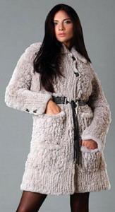 Вязанное пальто из меха кролик-рекс